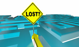 Lost Maze Sign Find Way Out. 3d Illustration Stock Image