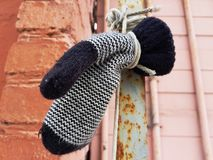 Lost Mitten Hanging on a Rope stock photography