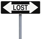 Lost. A modified one way sign indicating Lost Royalty Free Stock Photo