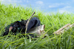 Lost money in the grass Royalty Free Stock Photography