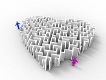 Lost my heart. 3d illustration of a maze-likernheart and a couple on white background Royalty Free Stock Image