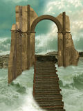 Lost in the ocean. Ruin in the ocean with bridge Royalty Free Stock Photos