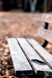 Lost phone on the bench. Someone forgot cell phone on a bench in the park Royalty Free Stock Photo