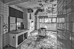 Lost places - abandoned Hotel - Kitchen Stock Image