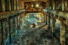 Lost Places, Factory, Hall, Leave Royalty Free Stock Photo