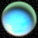 Lost planet in the far corner of universe. A planet with shinning atmosphere hidden  somewhere Royalty Free Stock Photography