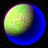 Lost planet in the far corner of universe. A planet with shinning atmosphere hidden  somewhere Stock Photos