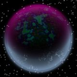 Lost planet in the far corner of universe. A planet with shinning atmosphere hidden  somewhere Stock Image
