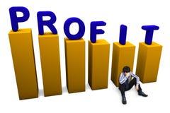 Lost in profit concept. Depressed businessman sitting on the floor. Lost in profit concept stock images