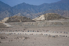 Lost Pyramids of Caral. Ancient pyramids at Caral, Peru, built by the Norte Chicos, one of the oldest civilizations in the Americas royalty free stock photos