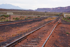 Lost railway. Abandoned railroad in the prairie. Tilted railing. Utah, USA Royalty Free Stock Photos