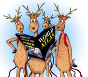 Lost Reindeer. A group of lost reindeer consulting a World Atlas Stock Photography