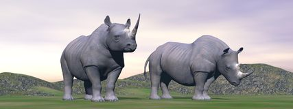 Lost rhinoceros - 3D render Royalty Free Stock Photography