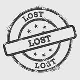 Lost rubber stamp isolated on white background. Grunge round seal with text, ink texture and splatter and blots, vector illustration Royalty Free Stock Image
