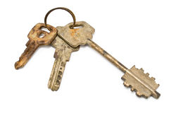 Lost rusty bunch of old keys Royalty Free Stock Image