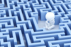 Lost and sad man in center of the maze. 3d Illsuatration stock illustration