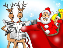 Lost Santa with GPS. Cartoon Santa, Elf and Reindeer trying to figure out GPS navigation. Reindeer are reading the instruction manual Royalty Free Stock Photo