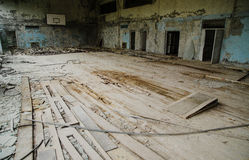 Lost school sport gym at Chernobyl city zone of radioactivity gh. Ost town Stock Images
