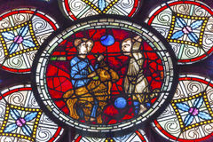 Lost Sheep Parable Jesus Stained Glass Notre Dame Paris France Stock Photo