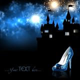 The lost shoe of Cinderella. In the night shines the Windows of the Palace. Above him, fireworks. Cinderella ran from the ball. Stock Photo