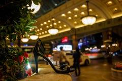 Cinderella, lost shoe at night. Bellagio, Las Vegas. Royalty Free Stock Images