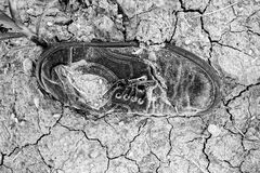Lost shoe rotted. Topview shot of an old shoe rotted on the dry loamy ground. Black-and-white image Royalty Free Stock Photos