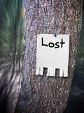 Lost sign. An old lost sign hanging from a tree trunk. Add your own copy and text. Hanging pieces are for a contact number. Easily remove bottom tabs are for a stock images