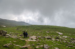 Trekking down from Bhrigu lake stock photos