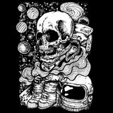 Skull astronaut lost in space. Lost in space with black background, suitable images for print poster or t-shirt Stock Image