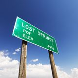 Lost Springs road sign. Royalty Free Stock Photography