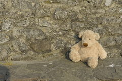 Lost Teddy bear outdoors Stock Photo