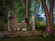 Lost Temple Ruins. A fairytale  setting of Temple Ruins Stock Photo
