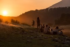 Lost Theory psytransce music festival held in Riomalo de Abajo watchingthe sunset next to the river