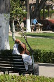 Lost in thought. Man thinking in park, Tijuana, Mexico Stock Image