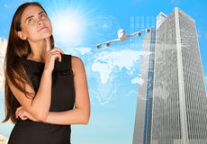 Lost in thought businesswoman Royalty Free Stock Photography