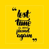 Lost time is never found stock illustration