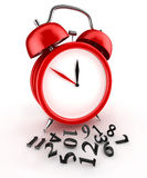 Lost time. Red alarm clock 3d.  on white Stock Photography