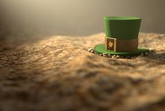 Lost Tiny Leprechaun Hat. A concept image showing a tiny leprechaun hat apparently lost on the ground in the day time - 3D render Stock Photo