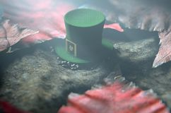 Lost Tiny Leprechaun Hat. A concept image showing a tiny leprechaun hat apparently lost on the ground surrounded by dead leaves at night - 3D render Royalty Free Stock Images