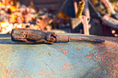 Lost Tool. A screwdriver left behind with an old junk car Royalty Free Stock Photos