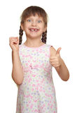 Lost tooth girl child portrait having fun, studio shoot isolated on white background Stock Photography