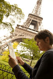 Lost tourist. In the city of paris Stock Images
