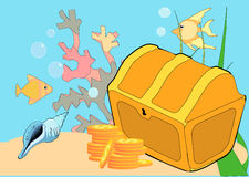 Lost Treasure. Vector Illustration of a treasure chest, coral, fish, and sand under water Royalty Free Stock Photography