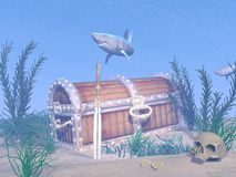 Lost treasure chest - 3D render Stock Images
