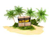 Lost treasure chest of gold on the island Royalty Free Stock Photos