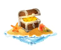 Lost treasure chest of gold on the island Stock Photography