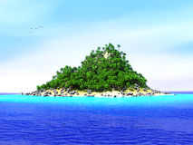 Lost tropical island. Tropical island and sand beach lost in the ocean Royalty Free Stock Photo