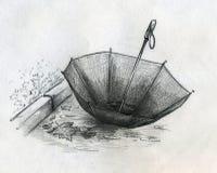 Lost umbrella sketch. Someone lost his umbrella diring autumn rain. Pencil drawing, sketch Royalty Free Stock Photos