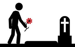 Lost. Vector , illustration. A man had bring a flower to grave Stock Images
