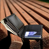 Lost Wallet. Left on bench with cash and credit cards Royalty Free Stock Image